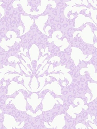 Lavender & White Dramatic Damask with Leopard Print Wallpaper - all4wallswall-paper