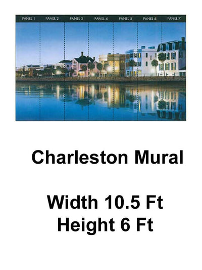 Charleston SC Wallpaper 10.5' x 6' Chair Rail Wall Mural - all4wallswall-paper