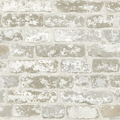 Grey and White Brick with Age on Sure Strip Wallpaper - all4wallswall-paper