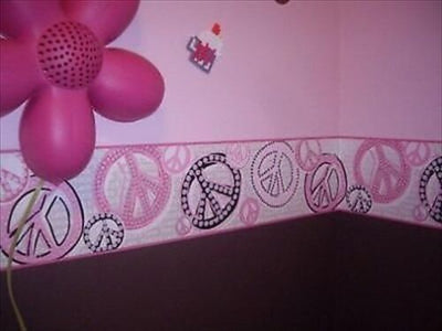 Retro Girls Pink and Black Peace Symbol Wallpaper Border - all4wallswall-paper