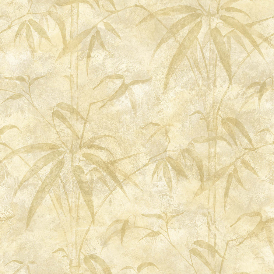 Kathy Ireland Beige Bamboo Branches on Beige on Easy Walls Wallpaper