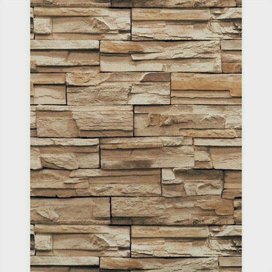 3D Textured Shades of Brown Stacked Stone Unpasted Wallpaper