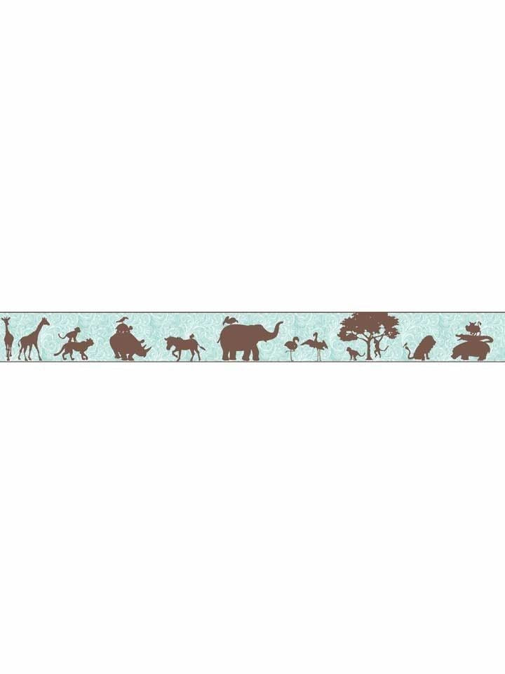 Chocolate Jungle Animal African Silhouettes Mural Wallpaper Border - all4wallswall-paper