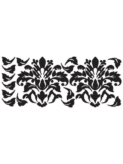 Large Black Damask Design Peel & Stick Appliques - all4wallswall-paper