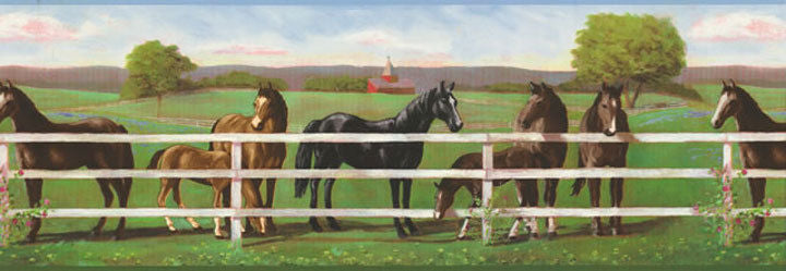 Horses Grazing at the Fence Sure Strip Wallpaper Border