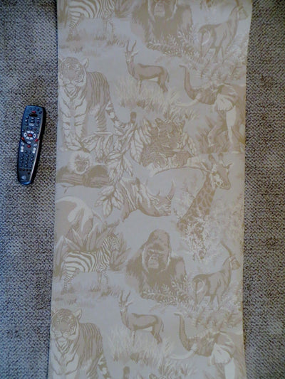 Beige Jungle Toile Wallpaper - all4wallswall-paper