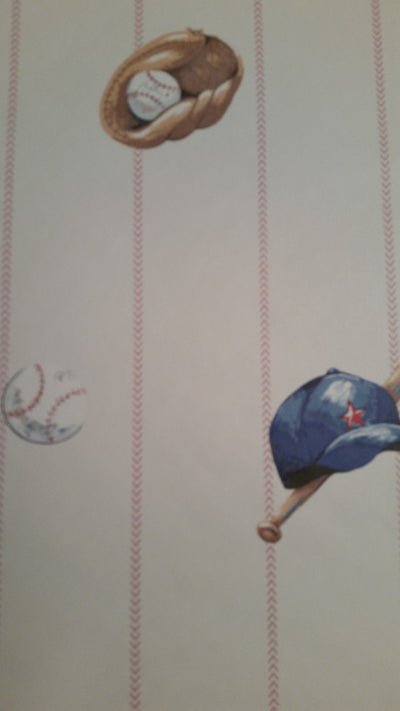 Carey Lind Baseball Items on Baseball Stitching Stripes Wallpaper - all4wallswall-paper