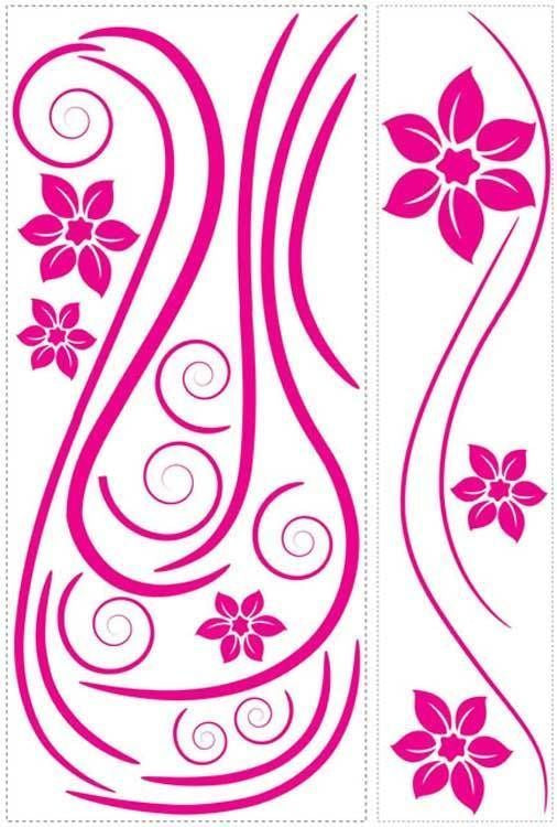 Hot Pink Swirl Mini Mural Appliques - all4wallswall-paper