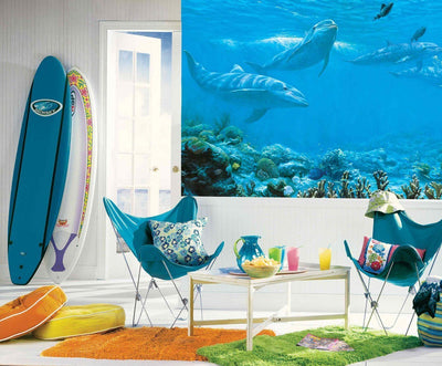 Dolphins Under the Sea, Above the Coral 10.5' x 6' Wall Mural Sure Strip - all4wallswall-paper