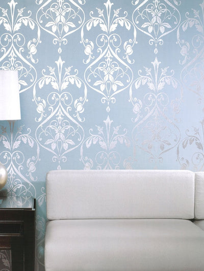 Bold Silver Damask on Blue Green Background Unpasted Wallpaper - all4wallswall-paper