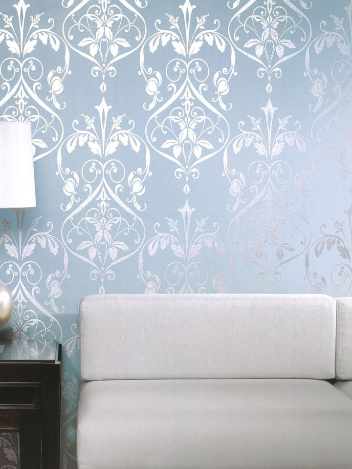 Bold Silver Damask on Blue Green Background Unpasted Wallpaper