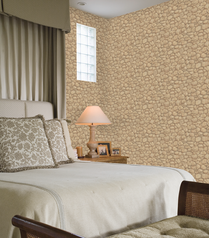 Sepia Taupe Creek Rock on Easy Walls Wallpaper