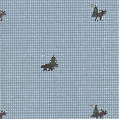 Blue Gingham With Bear, Moose & Trees Wallpaper