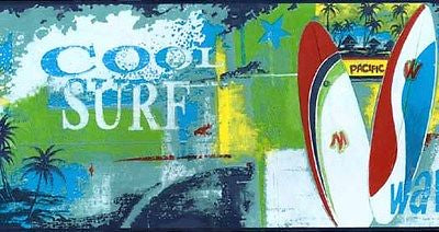 Cool Surf Surfboards Wallpaper Border - all4wallswall-paper