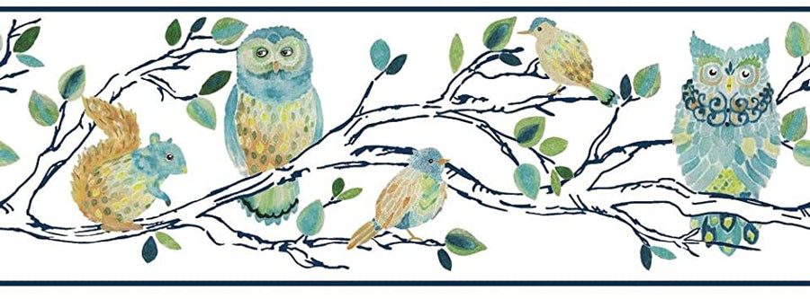 Forest Friends Hand Painted on Navy Tree and Edge on Sure Strip Wallpaper Border - all4wallswall-paper