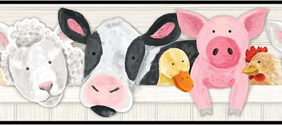 Down on the Farm Stuffed Animals on Sure Strip Wallpaper Border - all4wallswall-paper