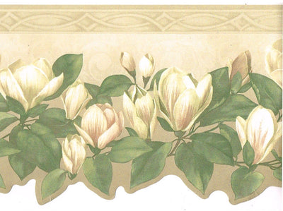 White Flowers on the Vine Beige Floral Wallpaper Border - all4wallswall-paper