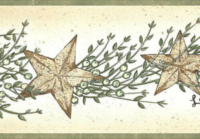Small Folk Art Stars with Berries on Easy Walls Wallpaper Border - all4wallswall-paper
