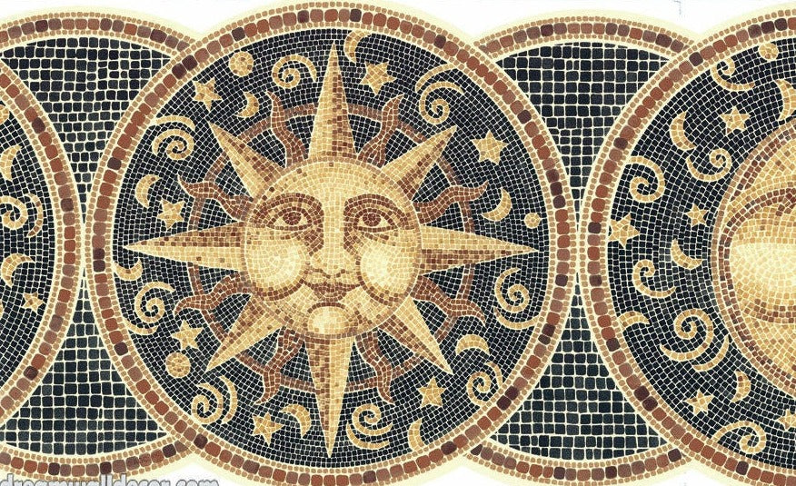 Mosaic Faux Sun, Moon & Stars Laser Cut Wallpaper Border - all4wallswall-paper