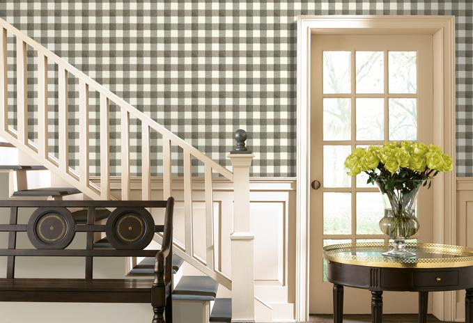 Chesapeake Claire Black, White and Grey Gingham Wallpaper