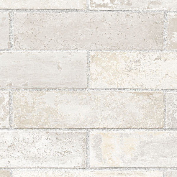 Off White, Cream, Grey & Beige Brick with Grey Grout Wallpaper - all4wallswall-paper