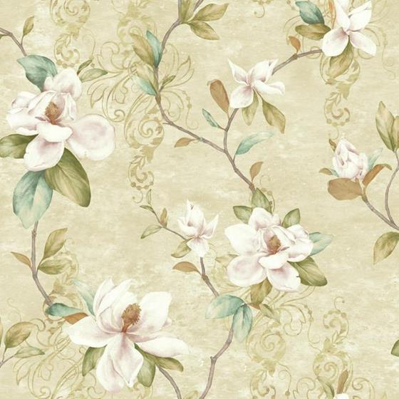 York Wallcoverings Charlotte Magnolia Trail on Beige Unpasted Wallpaper - all4wallswall-paper
