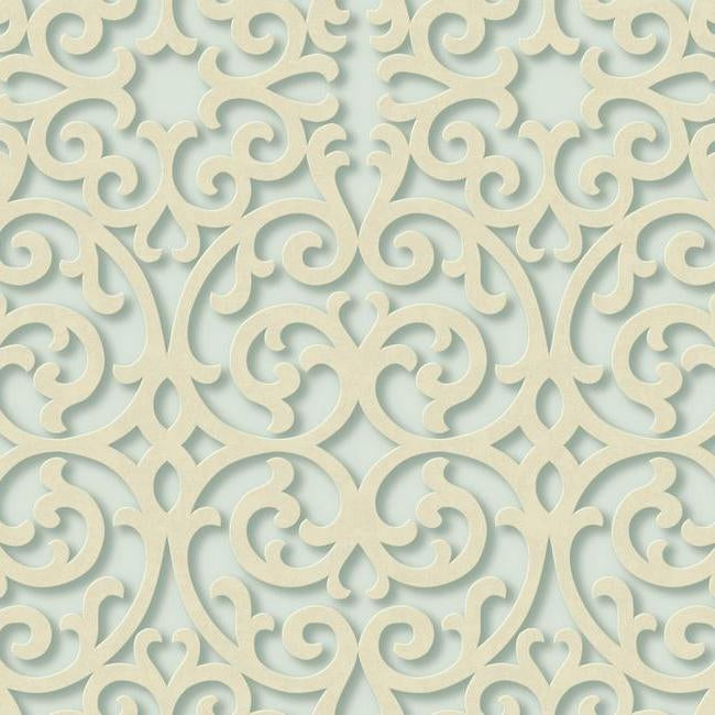 3-D Dimensional Beige Textured Scroll on Teal Sure Strip Wallpaper - all4wallswall-paper