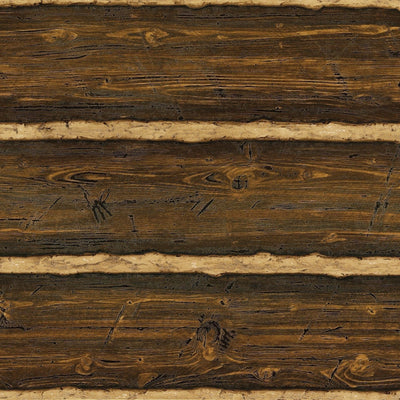 Puffy Log Cabin Textured Brown Wood Paneling Wallpaper - all4wallswall-paper