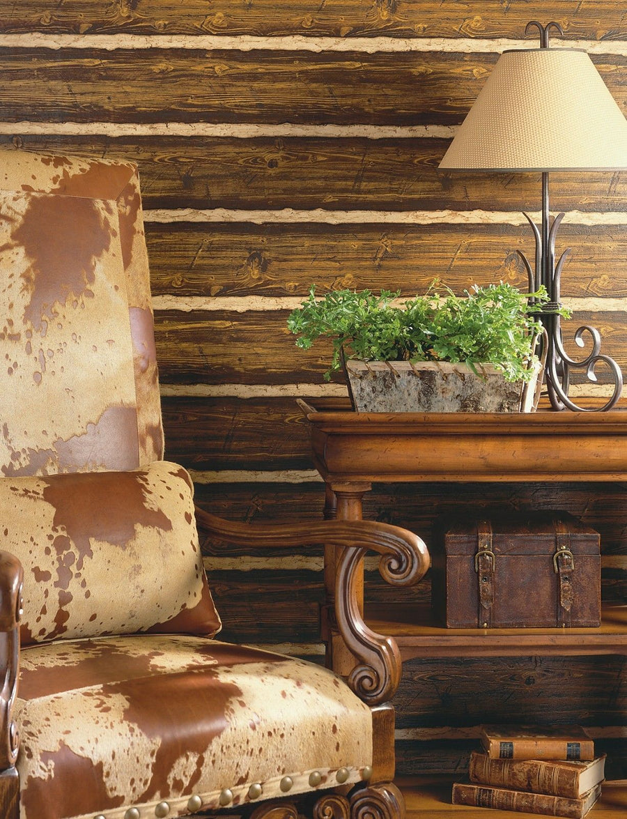 Puffy Log Cabin Textured Brown Wood Paneling Wallpaper