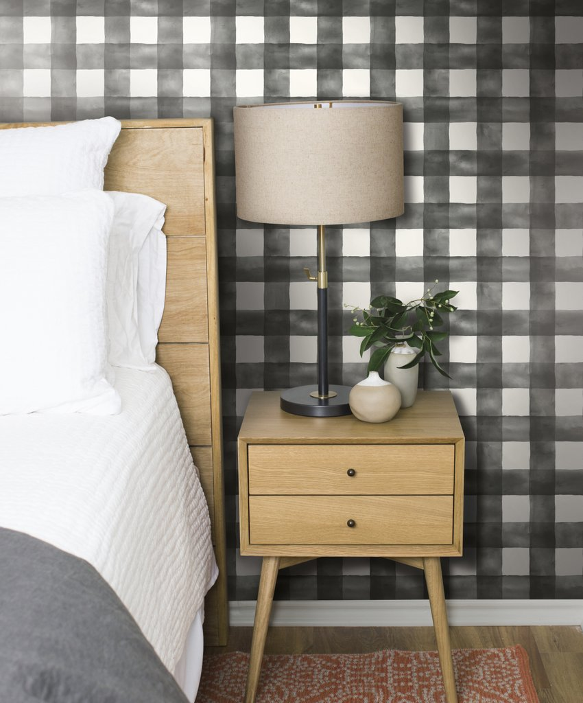 Magnolia Home Joanna Gaines Large Watercolor Black & White Check on Sure Strip Wallpaper