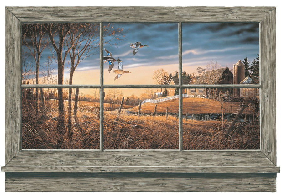 Rustic Window Duck Lodge Accent Wall Mural York Wallcoverings