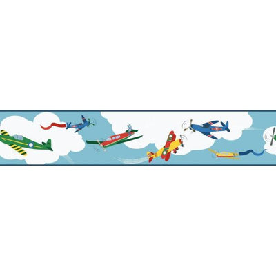 Airplanes / Planes in the White Clouds on Sure Strip Wallpaper Border - all4wallswall-paper