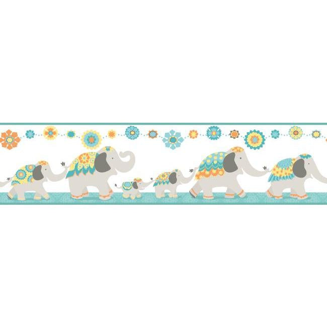 Follow the Leader India Elephant 14.5 FT Teal & Yellow on Sure Strip Wallpaper Border - all4wallswall-paper