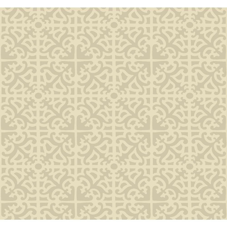Williamsburg Scroll Cream on Shiny Background India Style Wallpaper