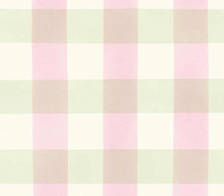 Girls Pink and Green Plaid on Easy Walls Wallpaper