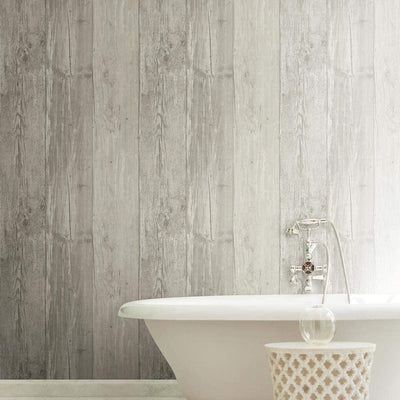 Grey Washed Faux Wood with Knots on Sure Strip Wallpaper - all4wallswall-paper