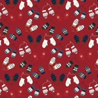 Let It Snow Mittens Red Flannel