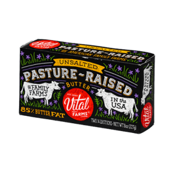 Vital Farms Pastured Raised Unsalted Butter 8 oz