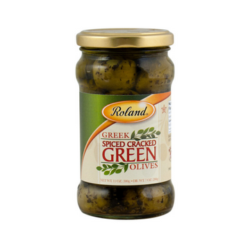 Roland Spiced Green Cracked Olives 11 oz