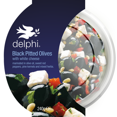 Delphi Black Pitted Olives W/ White Cheese 240g