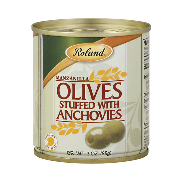 Roland Manzanilla Olives Stuffed W/ Anchovies 3 oz