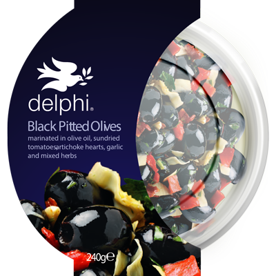Delphi Black Pitted Olives w/ Herbs 240g