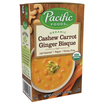 Pacific Foods Organic Cashew Carrot Ginger Bisque 17.6 oz