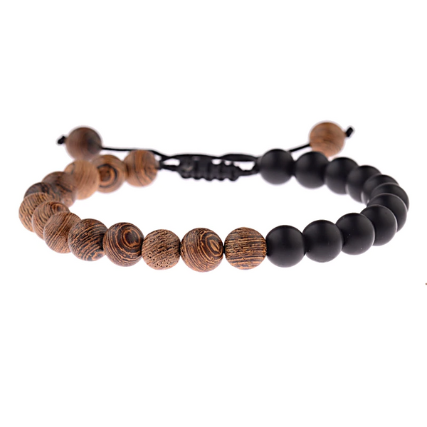 Natural Wood Beaded Bracelet with Cross - Charm Cove