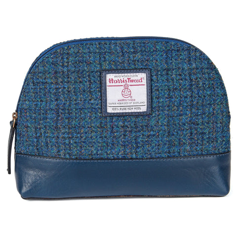 ZB074 Freya Harris Tweed/Leather Cosmetic Bag
