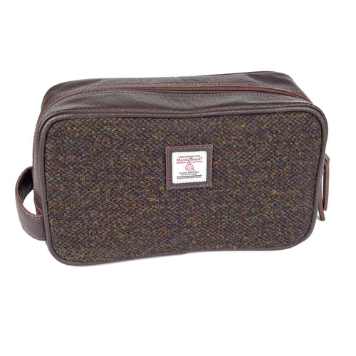 ZB079 Grant Harris Tweed/Leather  Washbag