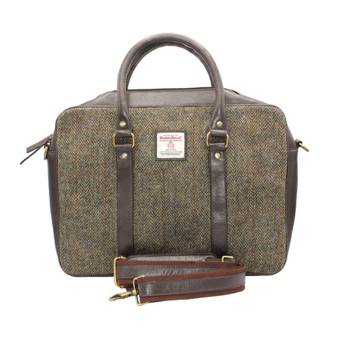 ZB082 Ethan Harris Tweed/Leather Laptop Bag