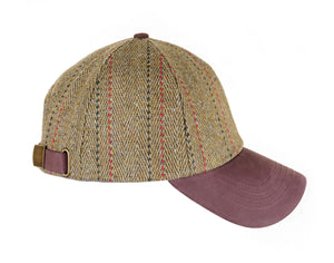 ZH011 Valley Derby Tweed/Leather Peak Baseball Cap