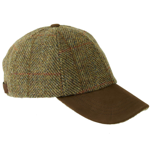 ZH016 Glencairn Harris Tweed/Leather Peak Baseball Cap