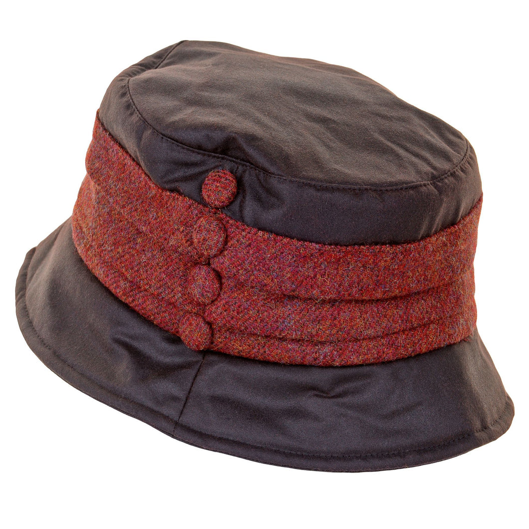 ZH178 Emma Wax/Tweed Pleat Hat